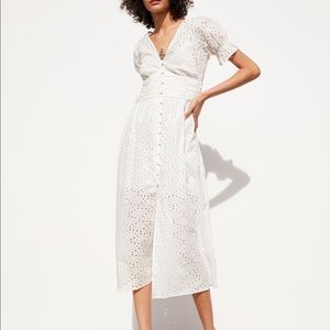 Zara White Openwork Embroidery Dress with Slip